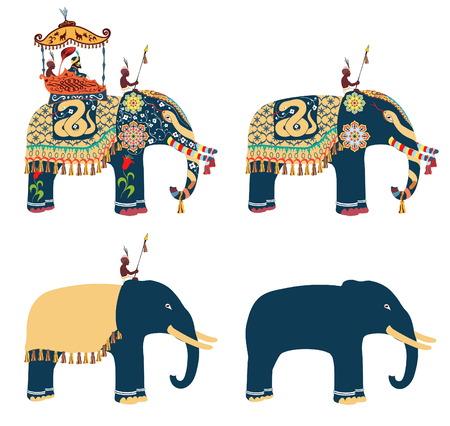 sirvientes: elefante decorado indio con el piloto Maharaja y sus sirvientes.