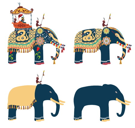 Indian decorated elephant with rider Maharaja and his servants.