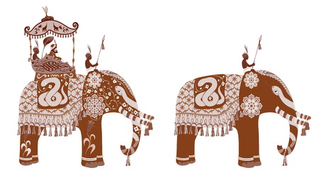 sirvientes: decorated Indian Elephant silhouette.King and servants. Sepia and vintage design.
