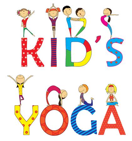 Yoga kids set. Gymnastics for children and healthy lifestyle.