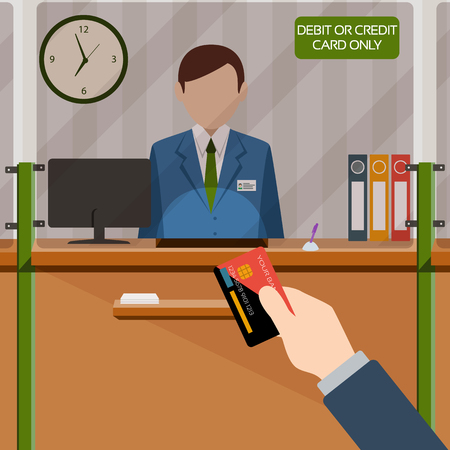 Bank teller behind window. Hand with card. Depositing money in bank account. Signboard Credit or Debit card payment only. People service and payment. Vector illustration in flat style