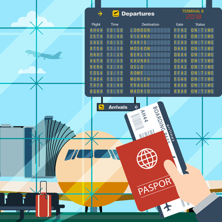 departure board: Man with passport and boarding pass waiting flight. Illustration inside in flat design of airport with a plane with gangplank, timetable in background. Travel, vacation, business trip concept. Illustration