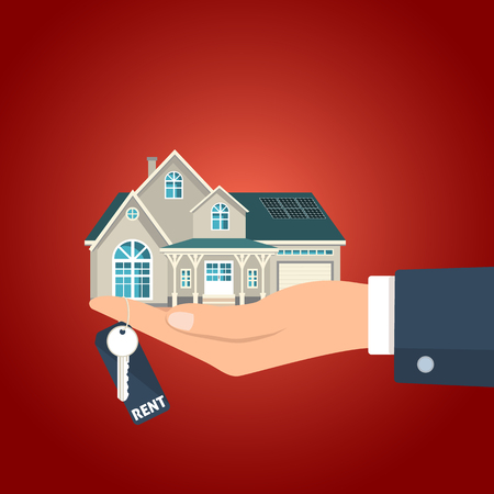 cash money: Hand holding the  key for rent and the house figurine vector illustration.