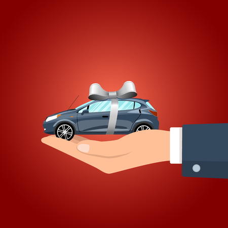 Hand holding car with the gray colored ribbon. Vector illustration. Illustration