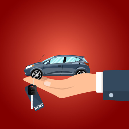 Hand holding the car key for rent and the figurine vector illustration. Illustration