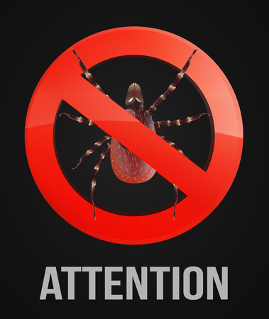 acarid: Mite in a forbid sign circle on the black background vector illustration.