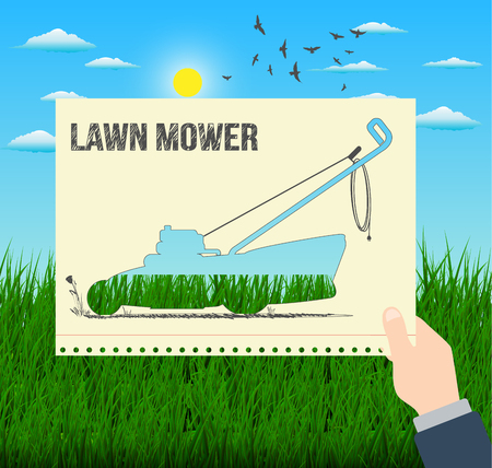 Man is holding an hand drawing illustration of a lawn mower with a grass background Illustration