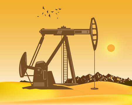 Vector illustration of oil production in the desert