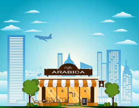 Vector illustration of small cafe with Arabica coffee in the city.