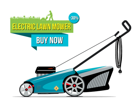 Vector illustration of grass-cutter with electric lower mower buy now words isolated on white. Illustration