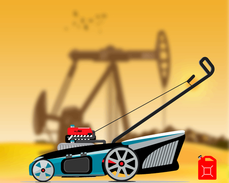 Illustration of an gas lawn mower with blur background of a oil production station Çizim