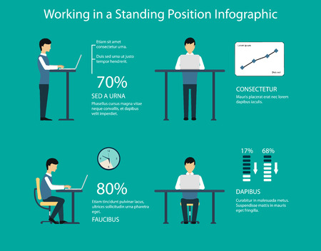 Working in standing position vector illustration. Benefits of a standing desk