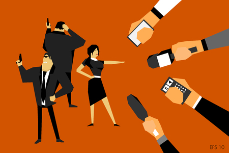 Press conference, a woman gives interviews to journalists, she is protected by armed security. Media on television broadcast vector concept. Illustration