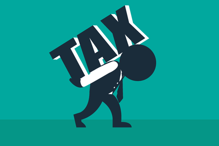 Tax burden.  A stickman look like a businessman carries a load of tax word.  Concept business vector illustration