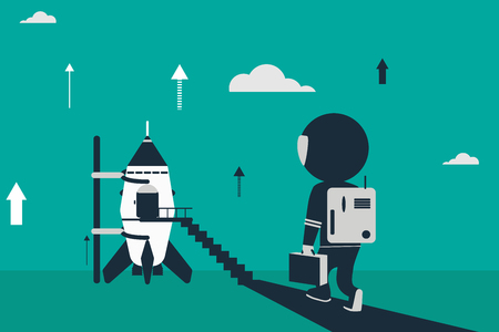 Space program concept. Flat design illustration with rocket and stick figures as astronaut. Illustration