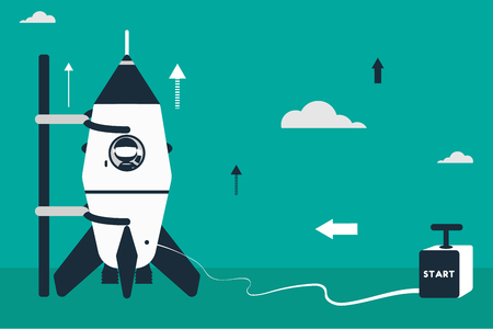 Rocket launch concept. Flat design illustration with rocket, stick astronaut figures and detonator box as starter. Ilustração