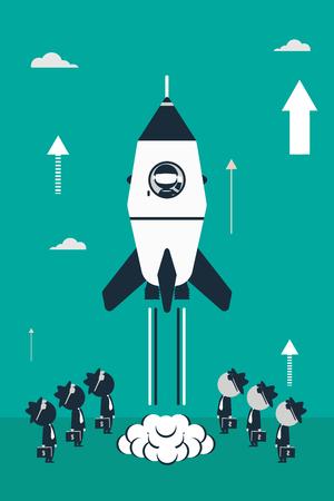 Rocket lancering concept. Platte ontwerp illustratie met raket, stok astronaut cijfers en zakelijke beleggers.