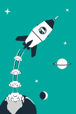 flat earth: Rocket launch illustration. Rocket with astronaut start from earth. Flat design concept