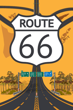 Road beautiful Aerial top view. Route 66 concept. Droneception vector illustration  イラスト・ベクター素材