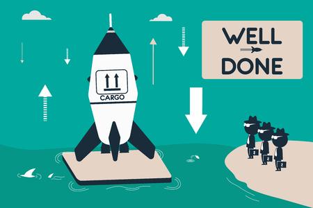 Cargo rocket landed on an ocean platform. Successful business projects. Flat illustration. Vektoros illusztráció