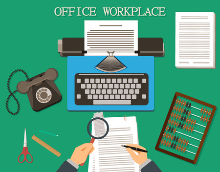 type writer: Vintage style office workplace. Flat illustration.