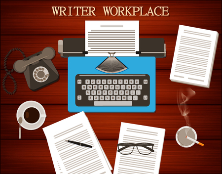 type writer: Top view of writers workplace - typewriter, old phone with cup of coffee and cigarette. Wooden table background. Illustration