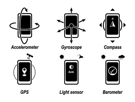 加速度計、ジャイロスコープ、コンパス、GPS、光センサー、気圧計。重要な電話の機能。黒いアイコン。