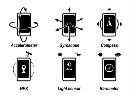 Accelerometer, gyroscope, compass, GPS, light sensor, barometer. Important phone functions. Black icon.
