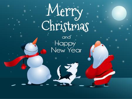 Singing Santa Claus, dog and snowman.  Christmas greeting card illustration.