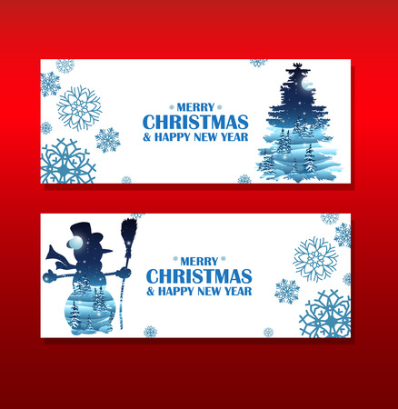 christmas postcard: Christmas greeting cards. Vecor elements with double exposure effect.