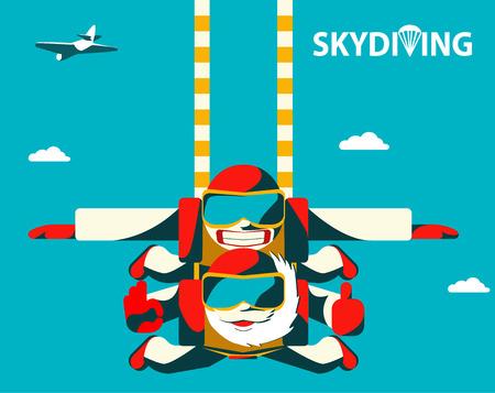 Couple de skydive tandem sautant hors de l'avion. Saut d'aînés âgés avec son instructeur tandem aux cheveux bouclés. Illustration vectorielle plane