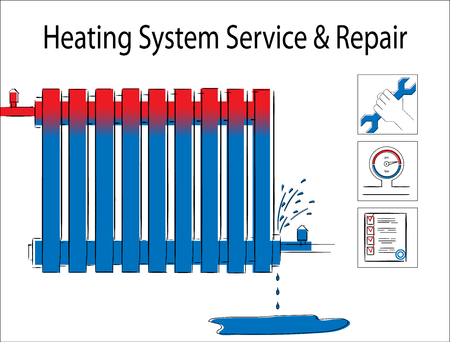 Heating system service and repair.Illustration with leaky  heating radiator.Service icon illustration Illustration