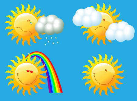 Meteorological weather icons with sun. Vector illustration.