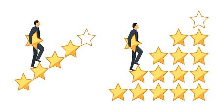 Star rating concept. Businessman walking on stair step holding a star in hand, to give five. Feedback concept. Evaluation system.