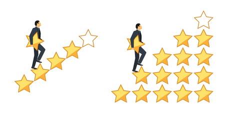 Star rating concept. Zakenman die op tredestap loopt die een ster in hand houdt, om vijf te geven. Feedback concept. Evaluatiesysteem. Stock Illustratie