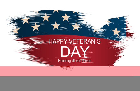 Creative vector illustration, poster or banner of happy veterans day with USA map as flag background.