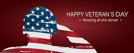 Soldat, der die USA-Flagge für Volkstrauertag begrüßt. Glückliches Veteranentagesplakat oder -fahnen? Am 11. November USA-Flagge als Hintergrund. Doppelbelichtung Wirkung.