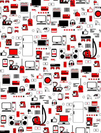 Pattern seamless of household appliances.Template for packing design. Ilustração