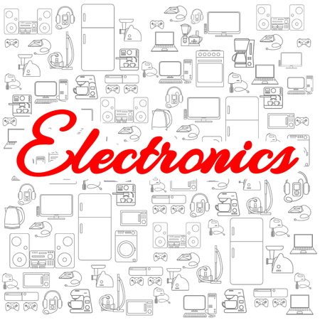 Background with isolated household appliances icons. Various electronics vector icons. Ilustrace