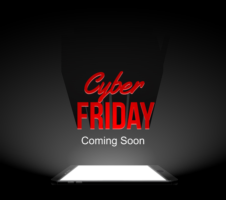 Cool cyber friday coming soon illustration. Light and shadow from phone screen. Black background Illustration
