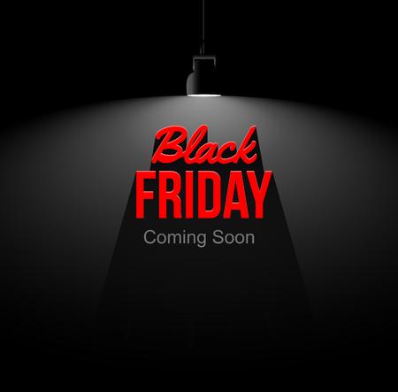 Black friday coming soon illustration. Light and shadow from spotlight. Black background. Illustration