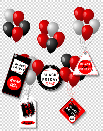 Black Friday sale black tags with colored balloons set, advertising, vector illustration. Special offer, discount template.Transparent background.