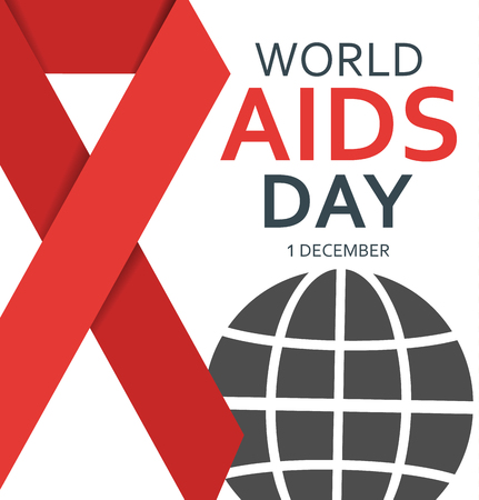 World AIDS day poster with abstract globe with a red ribbon on a white background,  flat vector illustration
