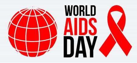 World AIDS day poster with abstract globe and a red ribbon on a white background vector illustration