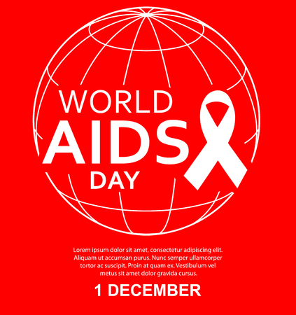 World AIDS day illustration, abstract globe with a white ribbon on a red background