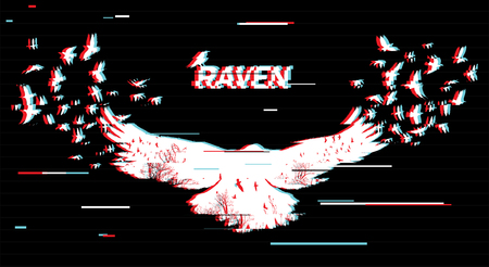Vector illustration of the white raven silhouette with the fluttering wings on a black background Double exposure with glitch effect.  矢量图像