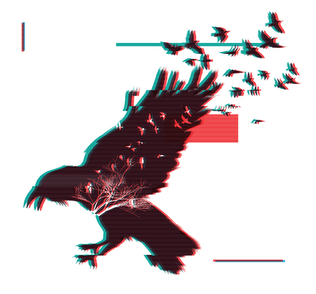 Flying raven. Double exposure effect with glitch error Illustration