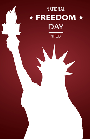 National Freedom Day Illustration with Statue Of Liberty Shadows Silhouette.  Poster or banners template - February 1st. Red background. Çizim