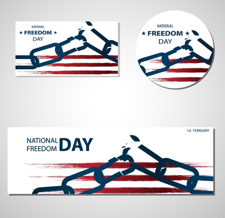 1st February National Freedom Day Illustration with broken chains banners or posters template. Abstract American Flag, USA Colors. Transparent background.