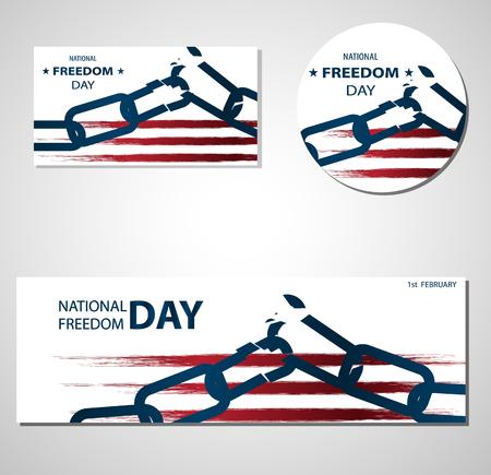 2月1日全国自由の日イラストと壊れたチェーンバナーやポスターテンプレート。抽象的なアメリカの旗、アメリカの色。透明な背景。